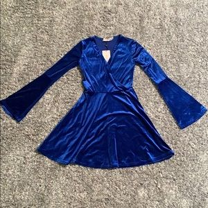 ASOS Crushed Blue Velvet Long Sleeve Mini Dress
